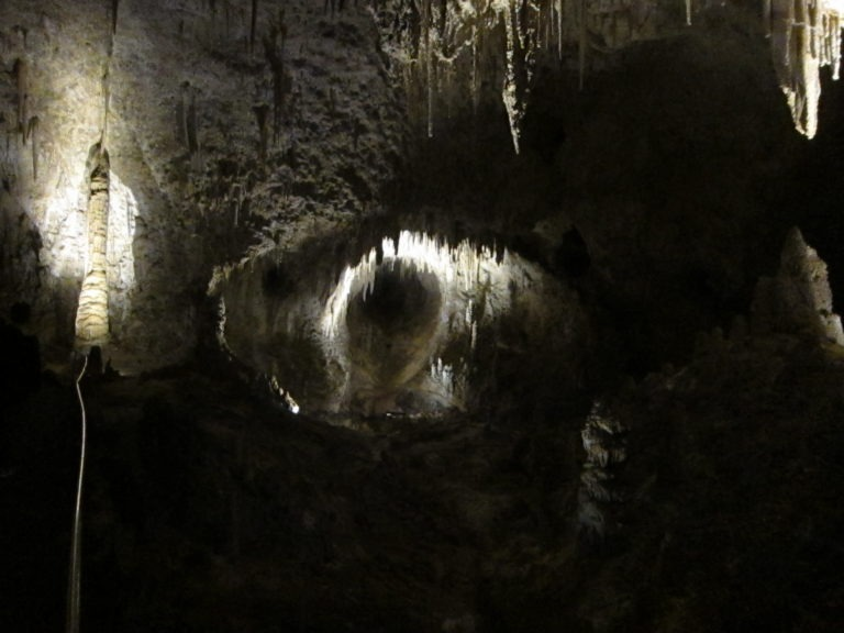 deep hole in wall in Carlsbad Caverns