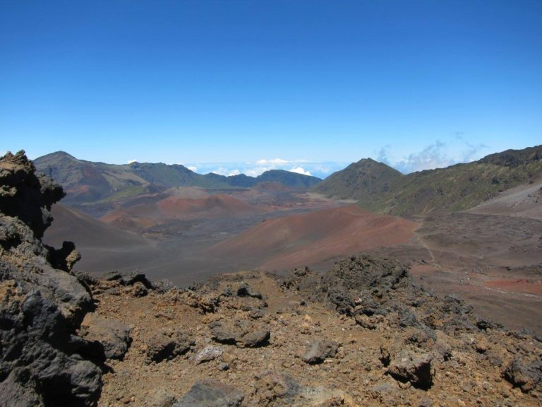panoramic image of Haleakala Crater's Sliding Sands Trail