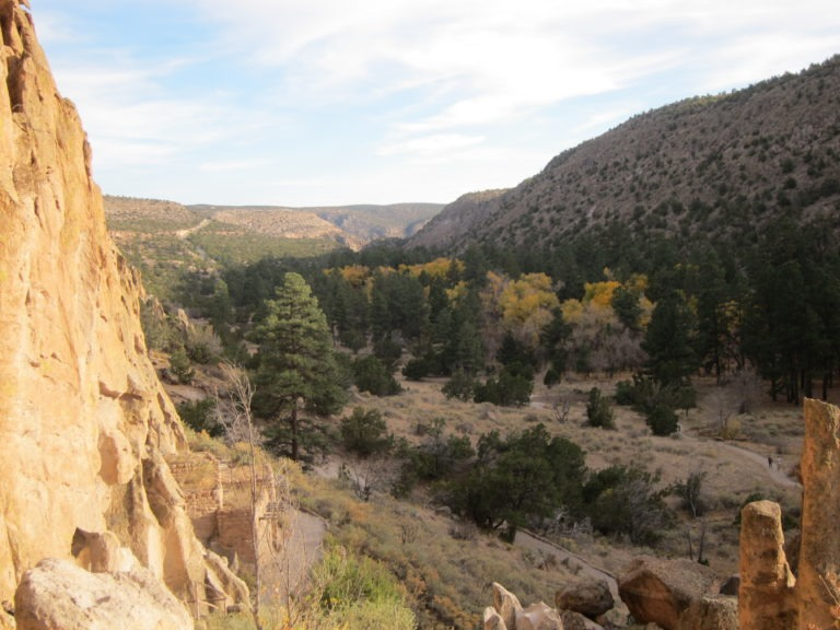 elevated view of Bandelier ruins and New Mexico sky