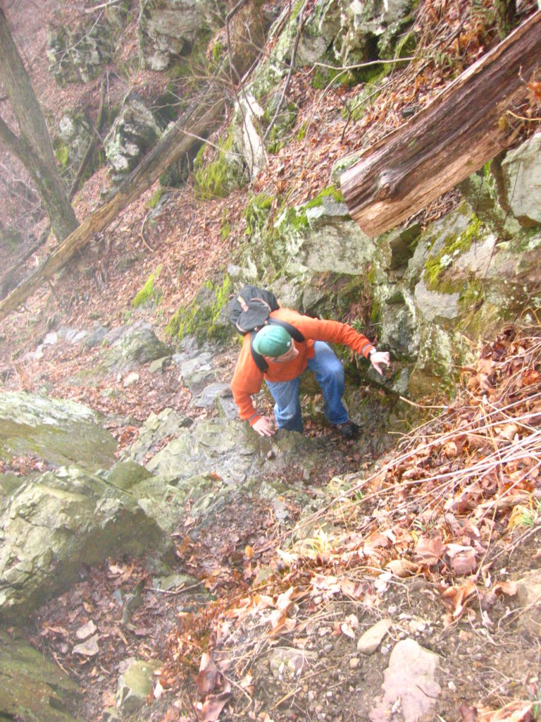 Joseph P. Fisher rock scrambling in Shenandoah National Park