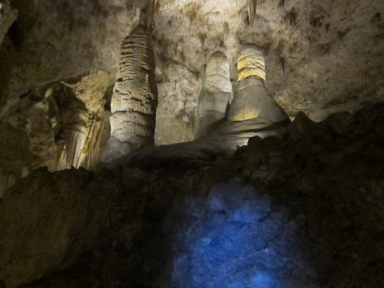 large stalagmites at Carlsbad Caverns