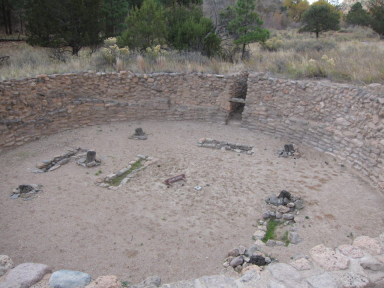 large round ruin at Bandelier National Monument