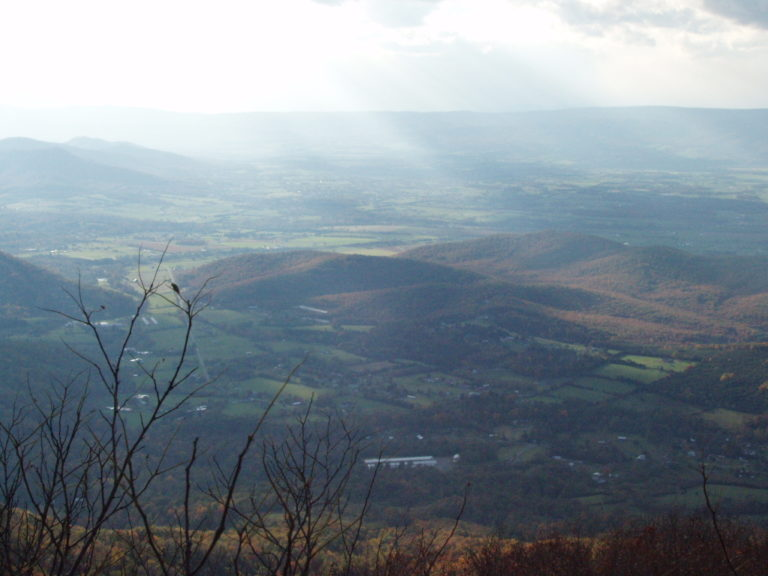 sunrays over the Shenandoah Valley