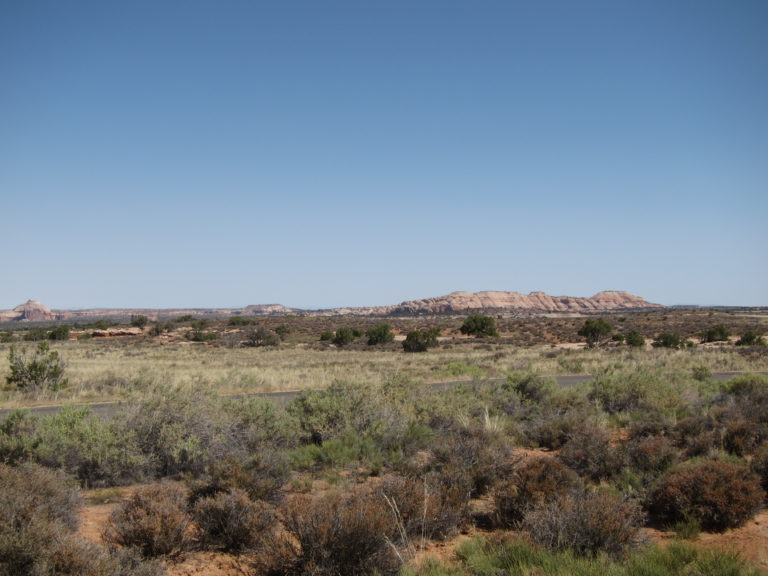 distant butte at entrance to Canyonlands Island in the Sky District