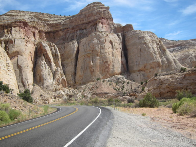 sheer rock walls at eastern edge of Capitol Reef National Park