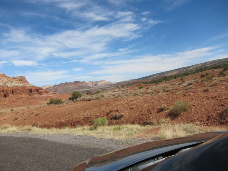 red desert vista at western edge of Capitol Reef Park