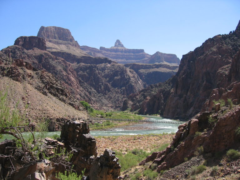 wide view of the Colorado River looking east from the Bright Angel Trail