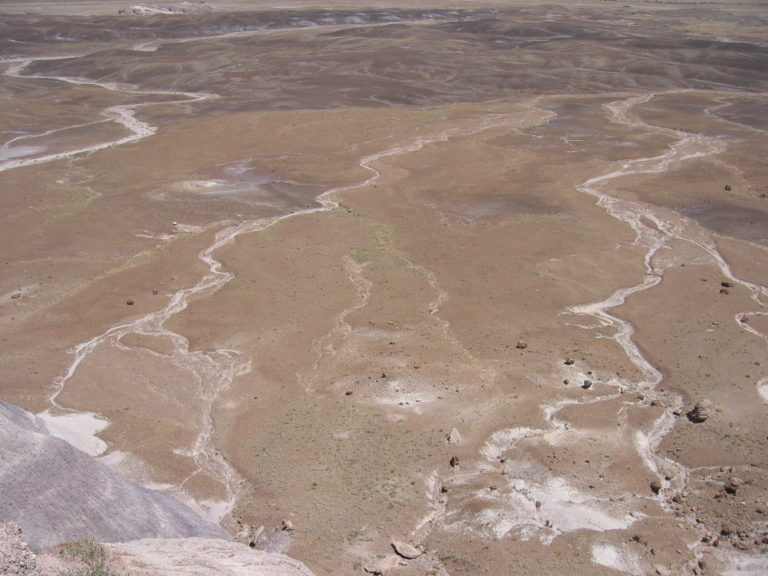 dry water runoff in the green Painted Desert
