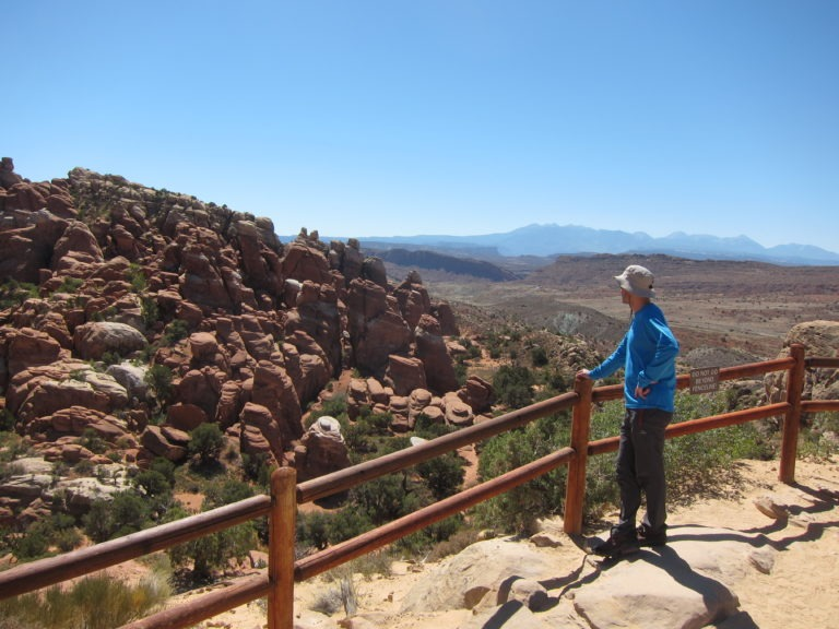 Joseph P. Fisher looking at The Fiery Furnace feature in Arches National Park