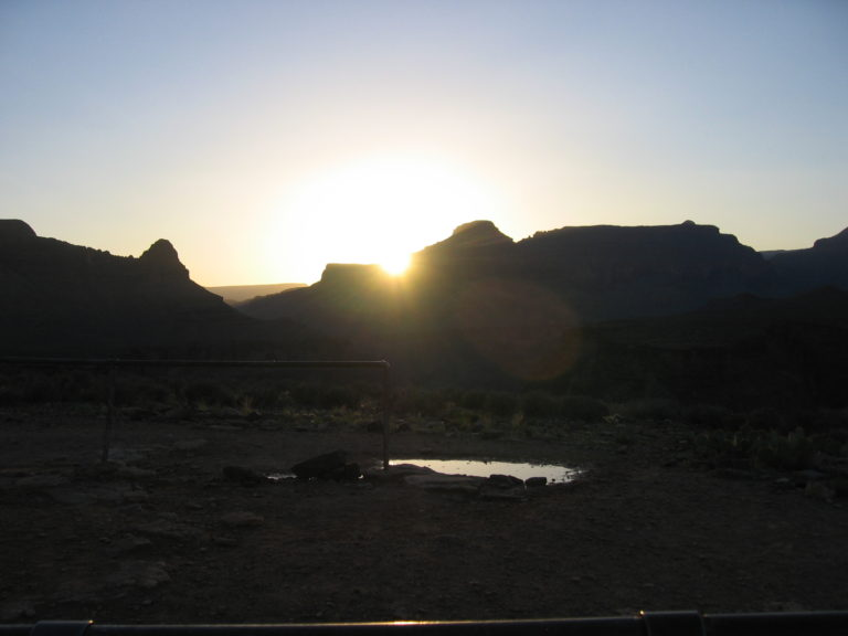 the sun setting from Indian Gardens Campground