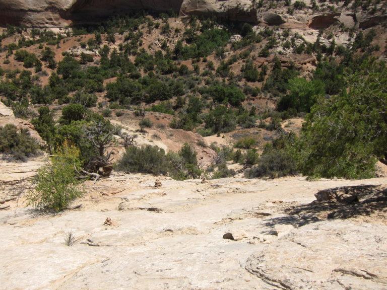 a steep downward view of Neck Spring rock scrambling