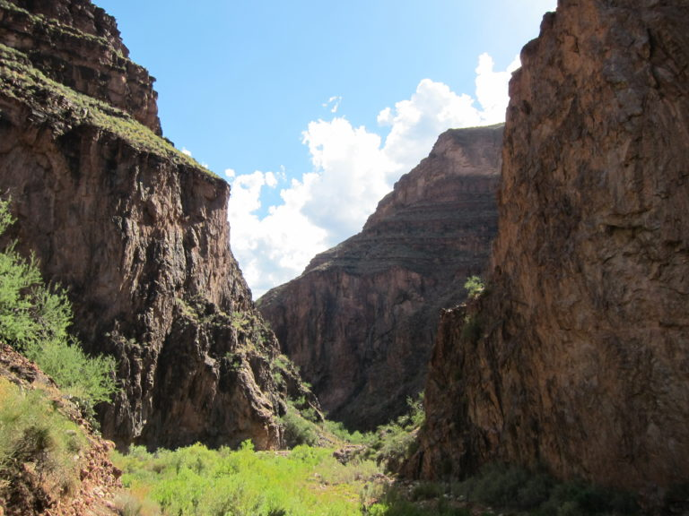 image of the darker lower canyon along the North Kaibab Trail