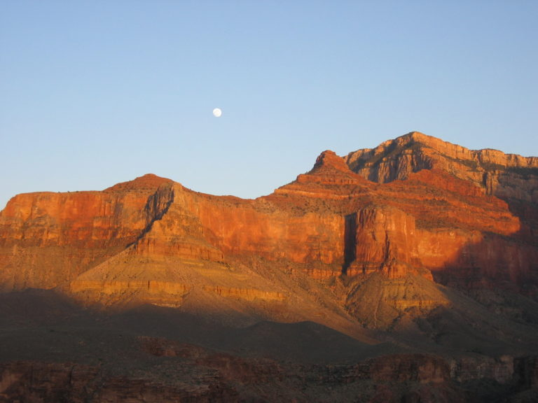 the moon rising over Indian Gardens Campground