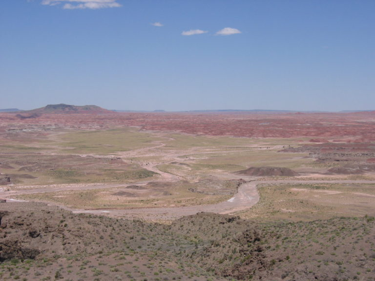 distant red rock formations in the Painted Desert
