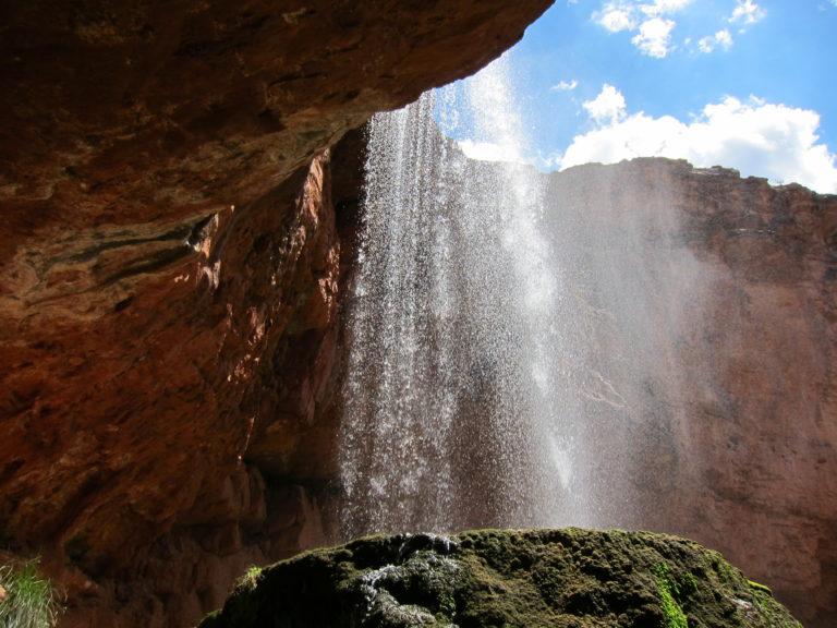 water falling at Ribbon Falls