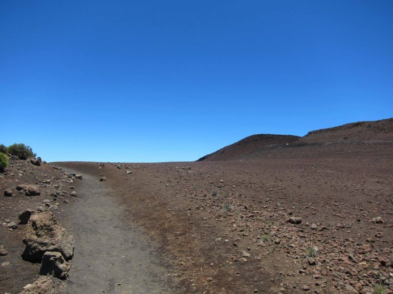 the Sliding Sands Trail disappearing over the rim of Haleakala Crater