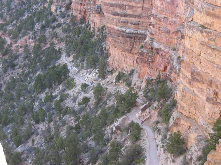 steep downward shot of the South Kaibab Trail