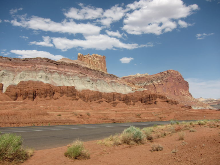 the Castle Formation against a blue sky at the western edge of Capitol Reef National Park